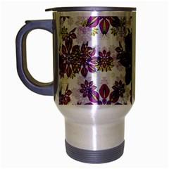 Stylized Floral Ornate Pattern Travel Mug (Silver Gray) by dflcprints