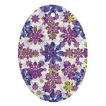 Stylized Floral Ornate Pattern Oval Ornament (Two Sides)