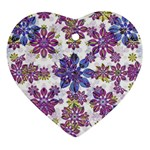 Stylized Floral Ornate Pattern Heart Ornament (2 Sides)