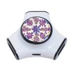 Stylized Floral Ornate Pattern 3-Port USB Hub