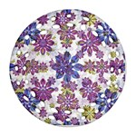 Stylized Floral Ornate Pattern Round Filigree Ornament (2Side)