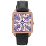 Stylized Floral Ornate Pattern Rose Gold Leather Watch