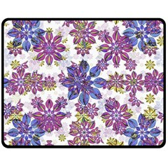 Stylized Floral Ornate Pattern Double Sided Fleece Blanket (medium)  by dflcprints
