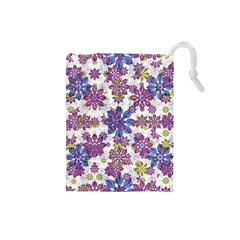 Stylized Floral Ornate Pattern Drawstring Pouches (small)  by dflcprints