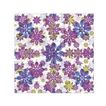 Stylized Floral Ornate Pattern Small Satin Scarf (Square)