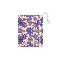 Stylized Floral Ornate Pattern Drawstring Pouches (xs)  by dflcprints