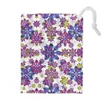 Stylized Floral Ornate Pattern Drawstring Pouches (Extra Large)