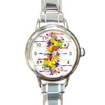 Crazy Multicolored Double Running Splashes Round Italian Charm Watch
