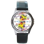 Crazy Multicolored Double Running Splashes Round Metal Watch
