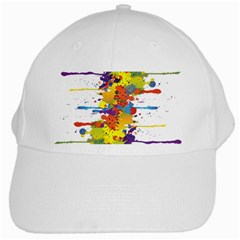 Crazy Multicolored Double Running Splashes White Cap by EDDArt