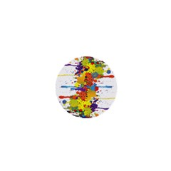 Crazy Multicolored Double Running Splashes 1  Mini Buttons by EDDArt