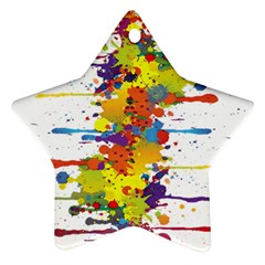 Crazy Multicolored Double Running Splashes Ornament (star)  by EDDArt