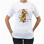 Crazy Multicolored Double Running Splashes Women s T-Shirt (White) (Two Sided)