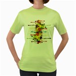 Crazy Multicolored Double Running Splashes Women s Green T-Shirt