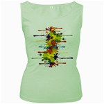 Crazy Multicolored Double Running Splashes Women s Green Tank Top