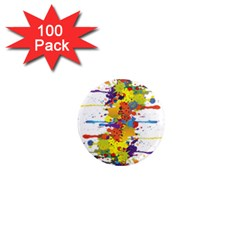 Crazy Multicolored Double Running Splashes 1  Mini Magnets (100 Pack)  by EDDArt