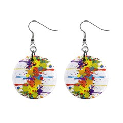 Crazy Multicolored Double Running Splashes Mini Button Earrings by EDDArt