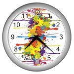 Crazy Multicolored Double Running Splashes Wall Clocks (Silver)