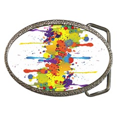 Crazy Multicolored Double Running Splashes Belt Buckles by EDDArt