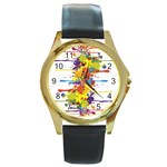 Crazy Multicolored Double Running Splashes Round Gold Metal Watch