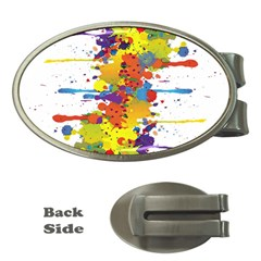 Crazy Multicolored Double Running Splashes Money Clips (oval)  by EDDArt