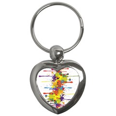 Crazy Multicolored Double Running Splashes Key Chains (heart)  by EDDArt