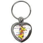 Crazy Multicolored Double Running Splashes Key Chains (Heart)