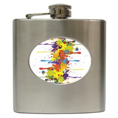 Crazy Multicolored Double Running Splashes Hip Flask (6 Oz) by EDDArt