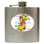 Crazy Multicolored Double Running Splashes Hip Flask (6 oz)