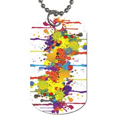 Crazy Multicolored Double Running Splashes Dog Tag (two Sides) by EDDArt