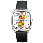 Crazy Multicolored Double Running Splashes Square Metal Watch