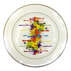 Crazy Multicolored Double Running Splashes Porcelain Plates by EDDArt