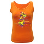 Crazy Multicolored Double Running Splashes Women s Dark Tank Top