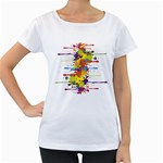 Crazy Multicolored Double Running Splashes Women s Loose-Fit T-Shirt (White)
