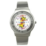 Crazy Multicolored Double Running Splashes Stainless Steel Watch