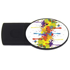 Crazy Multicolored Double Running Splashes Usb Flash Drive Oval (4 Gb)  by EDDArt
