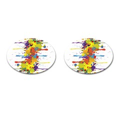 Crazy Multicolored Double Running Splashes Cufflinks (oval) by EDDArt