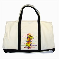 Crazy Multicolored Double Running Splashes Two Tone Tote Bag by EDDArt