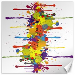 Crazy Multicolored Double Running Splashes Canvas 20  X 20   by EDDArt
