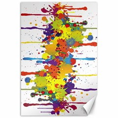 Crazy Multicolored Double Running Splashes Canvas 24  X 36  by EDDArt