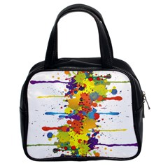 Crazy Multicolored Double Running Splashes Classic Handbags (2 Sides) by EDDArt