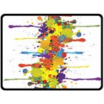 Crazy Multicolored Double Running Splashes Fleece Blanket (Large)