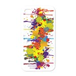 Crazy Multicolored Double Running Splashes Apple iPhone 4 Case (White)