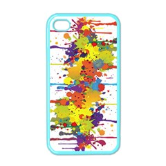 Crazy Multicolored Double Running Splashes Apple Iphone 4 Case (color) by EDDArt