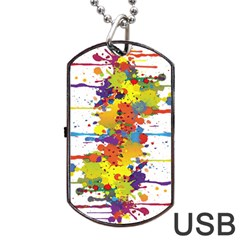 Crazy Multicolored Double Running Splashes Dog Tag Usb Flash (one Side) by EDDArt