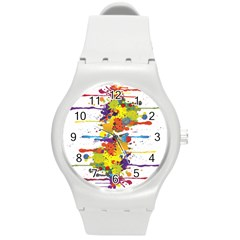 Crazy Multicolored Double Running Splashes Round Plastic Sport Watch (m) by EDDArt