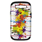 Crazy Multicolored Double Running Splashes Samsung Galaxy S III Hardshell Case (PC+Silicone)