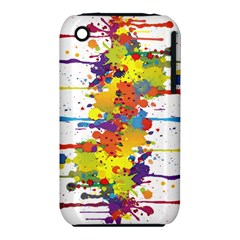 Crazy Multicolored Double Running Splashes Apple Iphone 3g/3gs Hardshell Case (pc+silicone) by EDDArt