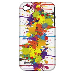 Crazy Multicolored Double Running Splashes Apple Iphone 4/4s Hardshell Case (pc+silicone) by EDDArt