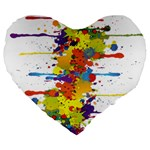 Crazy Multicolored Double Running Splashes Large 19  Premium Heart Shape Cushions